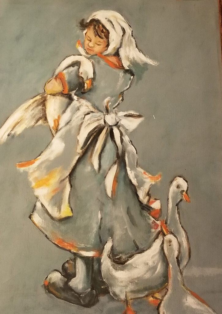 painting of girl with geese